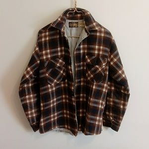 Vintage Navy and Brown long sleeve flannel